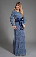 Изящное платье вечернее длинное в пол с атласным поясом