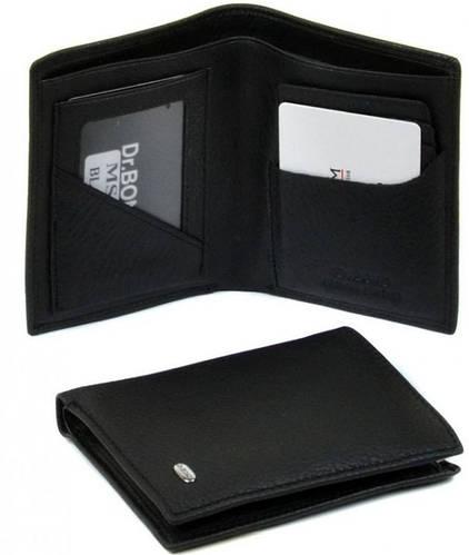 Привлекательный мужской кошелек из качественной кожи без застежки dr.Bond MS-8 black (черный)