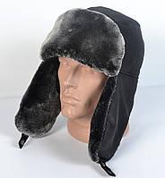 Мужская шапка-ушанка из плащевки - Искусвенный мех Мутона (код 29-302)