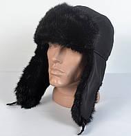 Мужская шапка-ушанка из плащевки - Искусвенный мех норки (код 29-303)