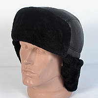 Мужская шапка-ушанка из натуральной кожи и овчины (код 29-306)