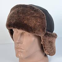 Мужская шапка-ушанка из натуральной кожи и овчины (код 29-307)