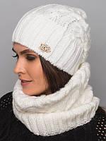 Стильный шарф-хомут из качественной пряжи. Женский хомут. Белый шарф. Шарф белый. Теплый шарф. Хомут вязаный.