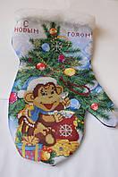 Схема для вышивки бисером Новогодняя рукавичка сшитая.