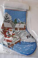 Схема для вышивки бисером Новогодний сапожок сшитый.