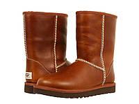 Сапоги мужские UGG Classic Short Leather Chestnut (угг, оригинал) кожаные коричневые