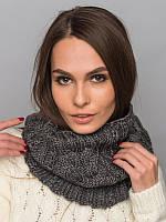 Стильный шарф-хомут из качественной пряжи. Шарф женский. Женский хомут. Темно-серый хомут. Серый шарф.