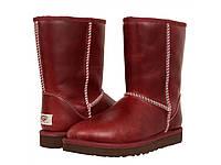 Сапоги мужские  UGG Classic Short Leather Red (угг, оригинал) кожаные красные