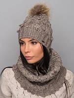 Стильный шарф-хомут из качественной пряжи. Женский хомут. Серый шарф. Шарф серый. Теплый шарф. Хомут вязаный.