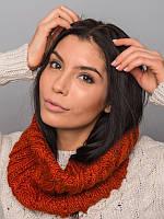 Стильный шарф-хомут из качественной пряжи. Шарф женский. Женский хомут. Красный хомут. Красный шарф.