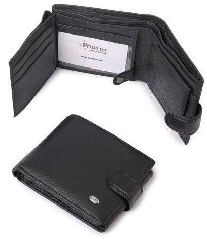 Вместительный мужской кошелек-портмоне из натуральной кожи  dr.Bond M 2 black (черный)