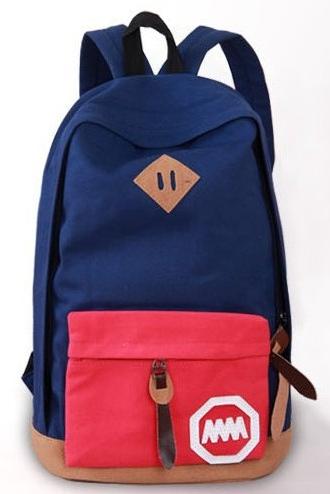 Городской рюкзак с цветным карманом 17 л., синий / красный, URBANSTYLE, 004