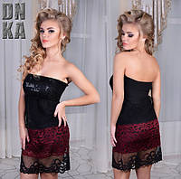 Платье клубное мини Бордо