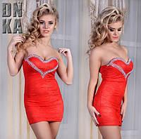 Платье женское мини коралловое Сердце