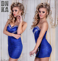 Платье женское мини синее Сердце