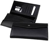 Вместительный мужской кошелек из натуральной кожи dr.Bond M49 black (черный)