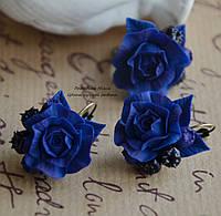 """""""Черничные розы"""" комплект серьги и кольцо"""