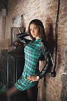 Платье женское зеленое В клетку