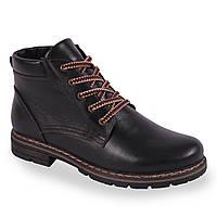 Мужские ботинки на шнуровке  Berg (натуральная кожа, черные, на замке, зимние, теплые, удобные)