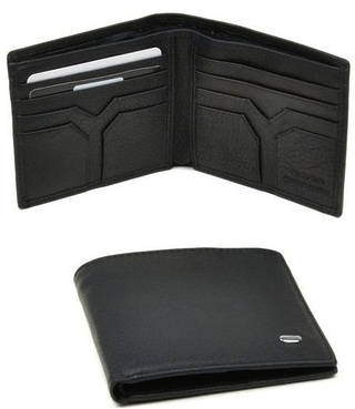 Тонкое мужское портмоне без застежки из натуральной кожи dr.Bond M 59 black (черный)