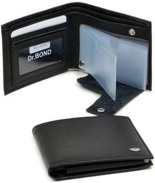 Строгое мужское портмоне на клапане из натуральной кожи dr.Bond M 61 black (черный)