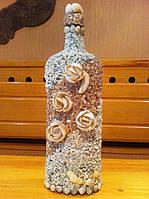 Декупаж бутылок природным материалом  ракушками