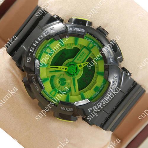 Стильные спортивные наручные часы Casio GA-110 Black/Light green/Green 630