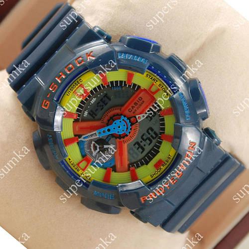 Мужские наручные спортивные часы Casio GA-110 Dark blue/Green/Red 632