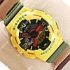 Яркие спортивные наручные часы Casio GA-110 Yellow/Black/Red 636