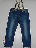 Демисезонные джинсы детские на мальчика рост 86-116 Zara 338-2 (реплика) с подтяжками