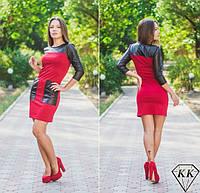 Платье женское Дуэт экокожи и французского трикотажа красное