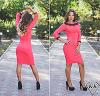 Платье женское коралловое украшение кружево