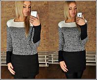 Женский трехцветный вязанный свитер-туника, Турция