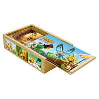 Кубики из дерева - Пчелка Майя, 15 дет