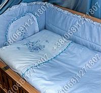 """Детское постельное белье в кроватку с вышивкой """"Пчелка"""" комплект 7 ед. (голубой)"""
