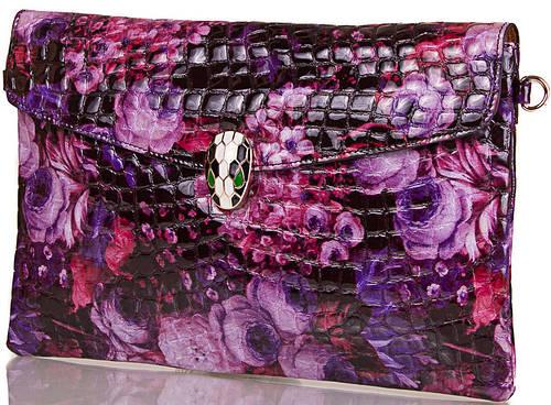 Яркий  женский кожаный клатч  с принтом ETERNO, ET336951-3