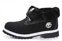 Ботинки женские Timberland Roll Top (тимберленд, оригинал) на меху черные