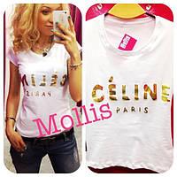"Женская футболка ""Celine""накат фольга"