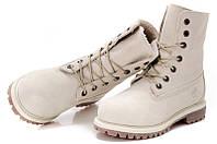 Ботинки женские High Timberland Teddy Fleece White  (тимберленд, оригинал) на меху белые