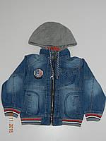 Джинсовая куртка на мальчика на молнии с трикотажным капюшоном3 - 7  лет Magic Land