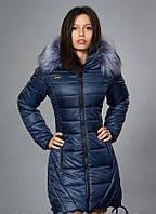 Женское зимнее молодежное пальто, цвет темно синий