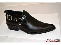 Полуботинки-казаки мужские Broni кожаные черные B0019