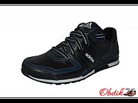 Кроссовки мужские Adidas кожа черные с синими вставками AD0001