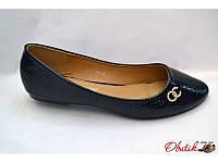 Балетки женские Китай Chanel экокожа черные KF0040