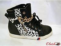 Сникерсы женские стильные экокожа черные с леопардовой вставкой KF0042