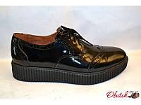 Туфли-броги женские закрытые Украина лаковая кожа черные Uk0079