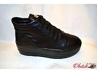 Ботинки-кеды женские на толстой подошве Хит сезона Urban кожаные черные Urb0017