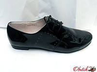 Туфли-оксфорды женские Украина лаковая кожа черные Uk0067