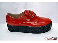 Слипоны-туфли женские Украина лаковая кожа красные Uk0087