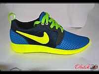 Кроссовки мужские Nike летние сетка голубые желтый логотип NI0019